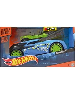 Машинка Turbo Turret - Speed Attack (свет, звук), голубая, 27 см, Hot Wheels Toystate