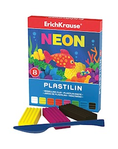 Пластилин Neon 8 цветов 144г стек Artberry ErichKrause
